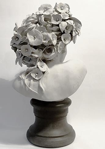 sculpture des fleurs de dos